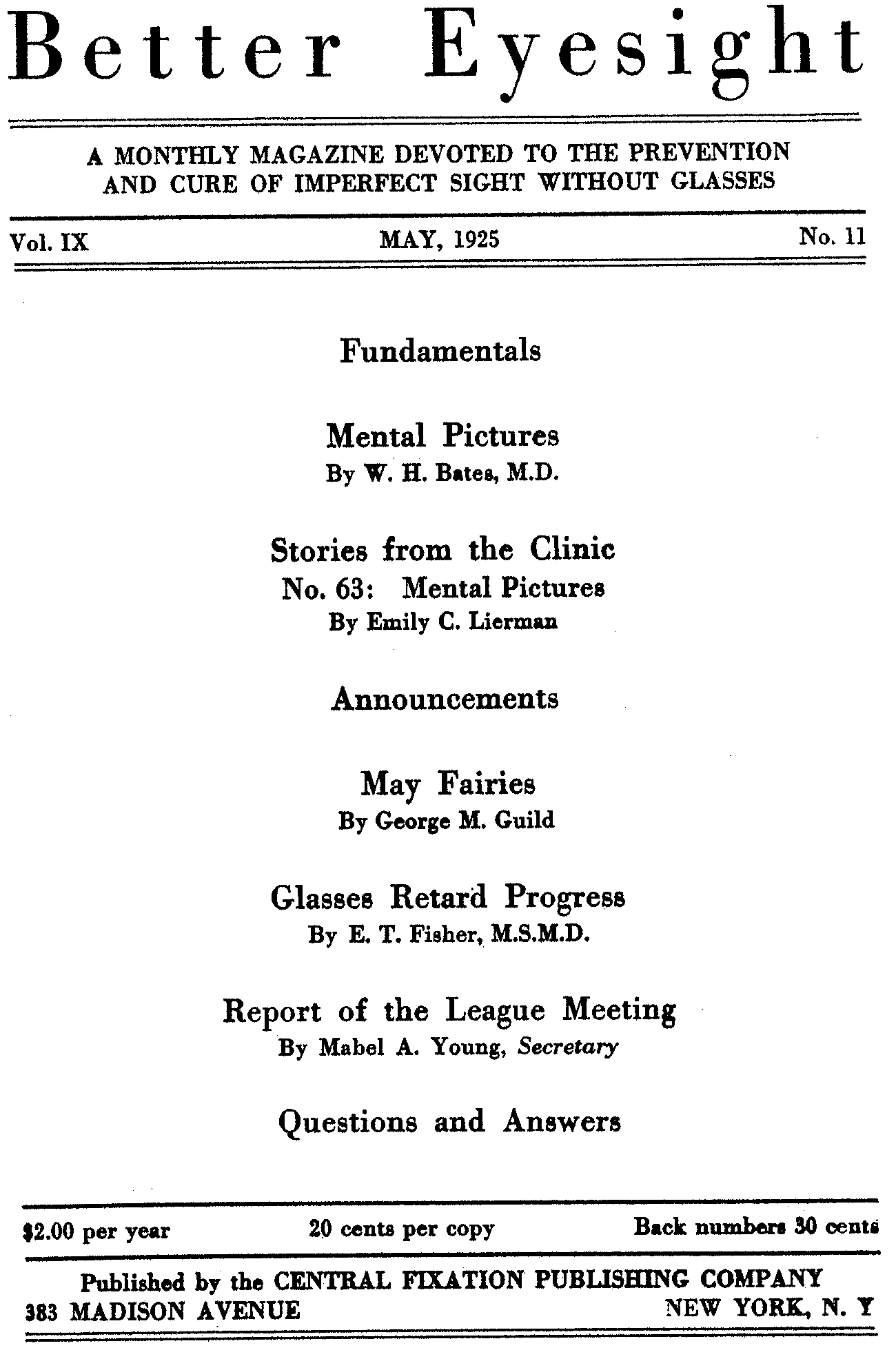 Better Eyesight - May 1925