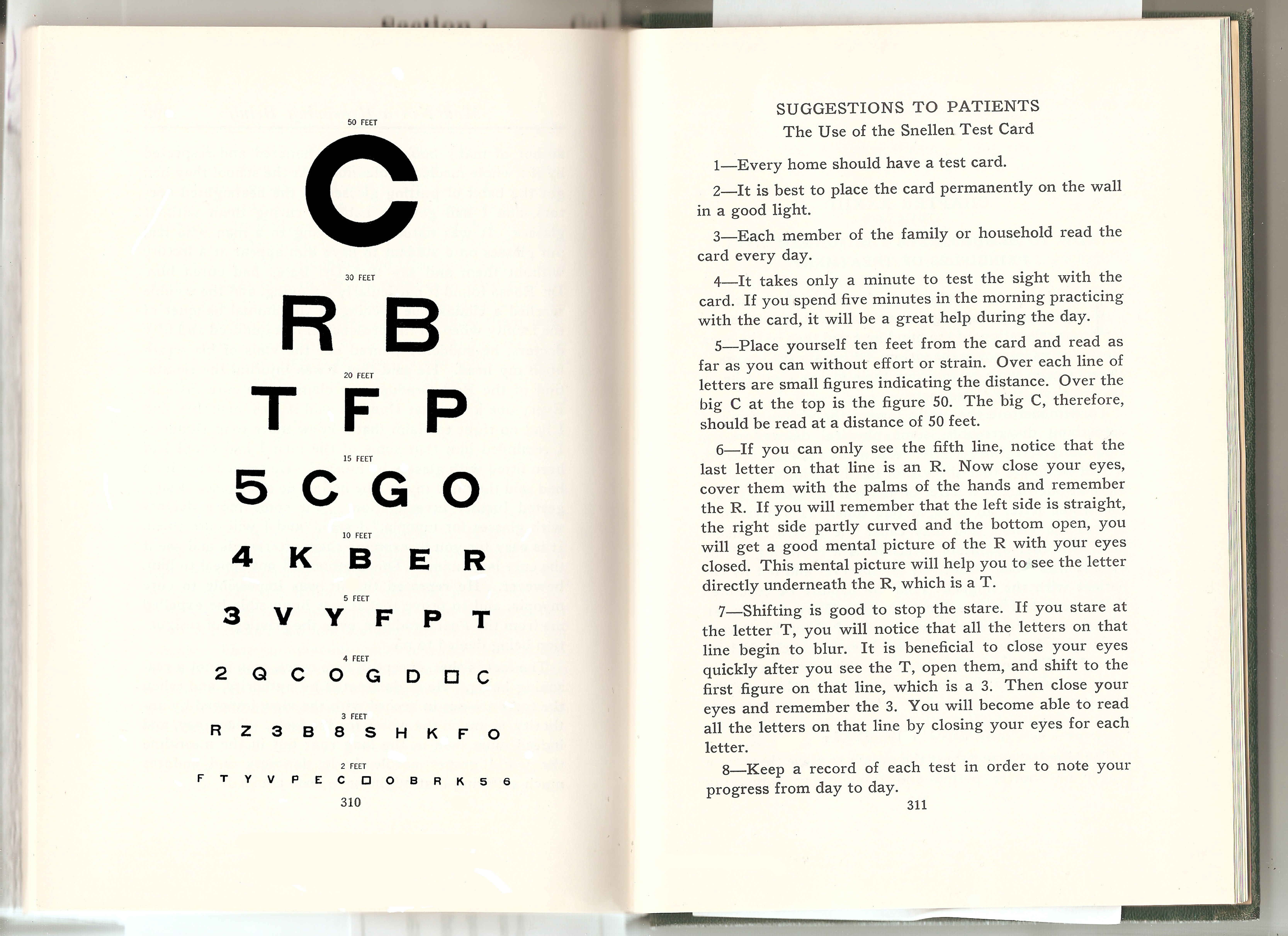 Dr. Bates, Emily's C Eyechart with Suggestions to Patients - 1940 PSWG Edition