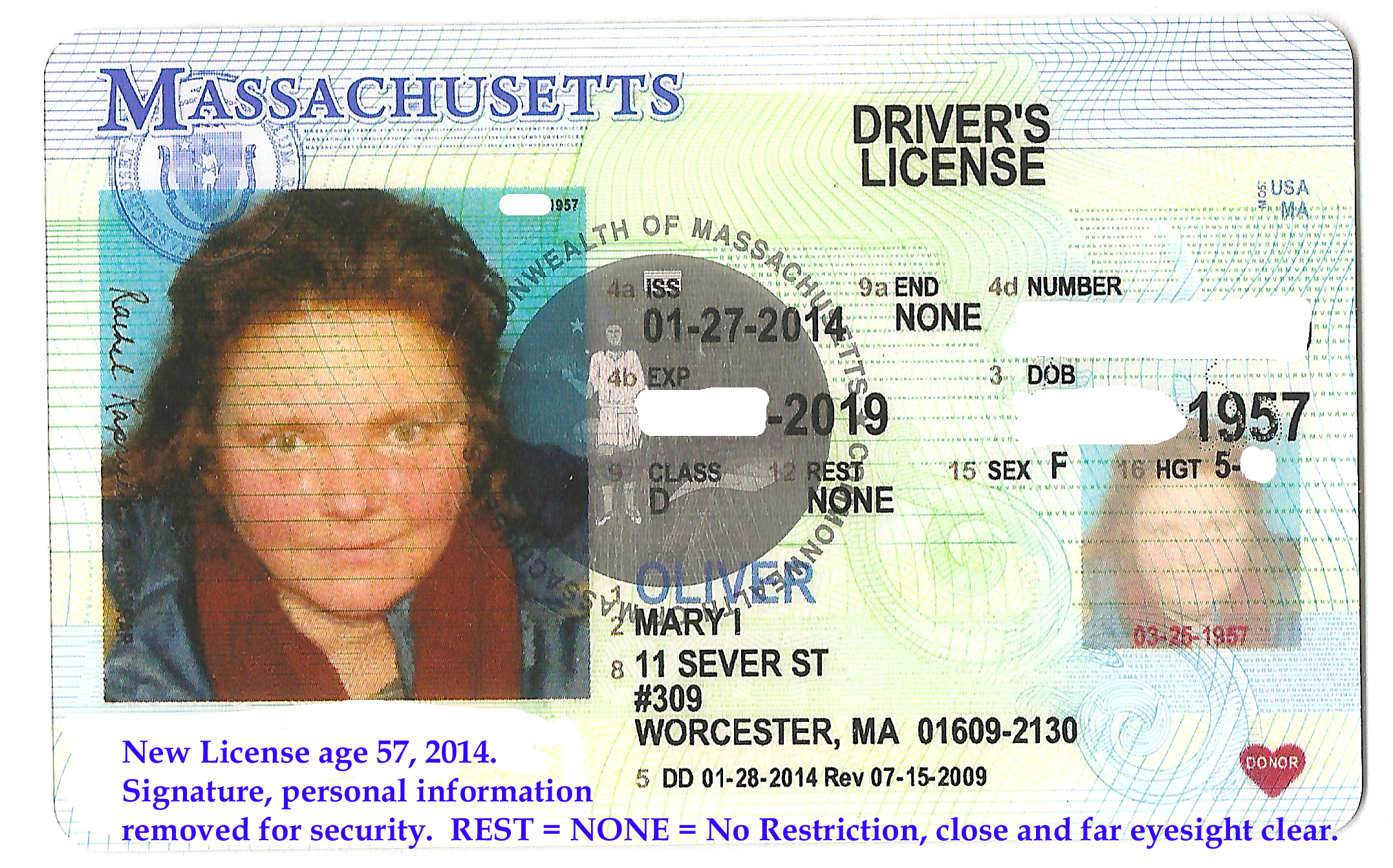 New License Feb., 2014. Age 57